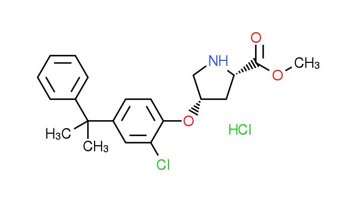 Methyl (2S,4S)-4-[2-chloro-4-(1-methyl-1-phenyl-ethyl)phenoxy]-2-pyrrolidinecarboxylate HCl